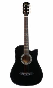 Photron Acoustic Guitar, 38 Inch Cutaway with Pick Guard, PH38C-BK with Bag, Strings, Pick and Strap, Black